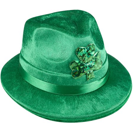 Adults Saint Patrick's Day Irish Shamrock Velvet Fedora Hat Costume Accessory - Saint Costume Ideas
