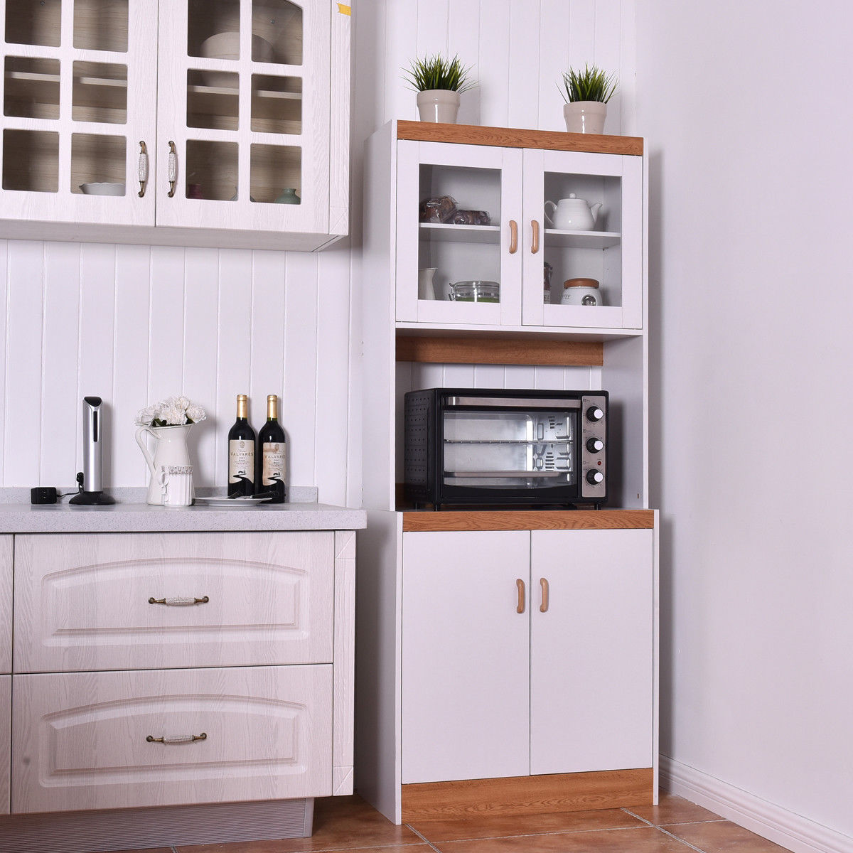 Gymax Tall Microwave Cart Stand Kitchen Storage Cabinet ...