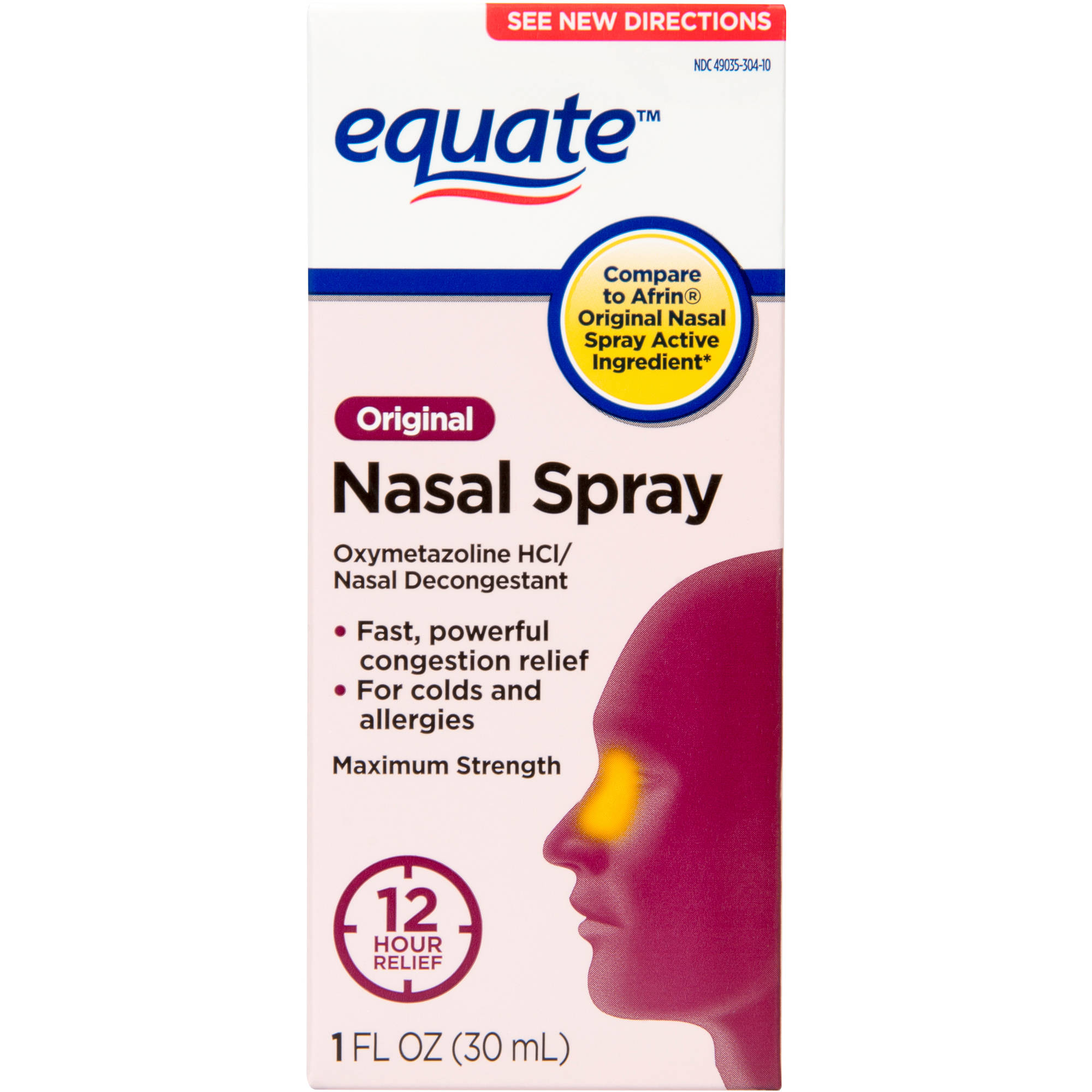 Equate: Oxymetazoline Hydrochloride 0.05% Nasal Decongestant/Original/12 Hour Nasal Spray, 1 oz