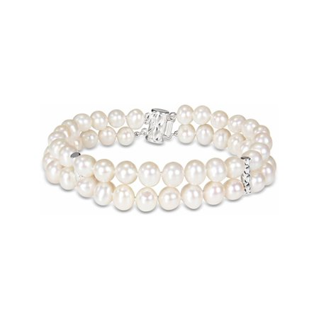 18d15769abf98 Double Strand Freshwater Cultured 6-7mm Pearl Bracelet (7.5 inch) in ...