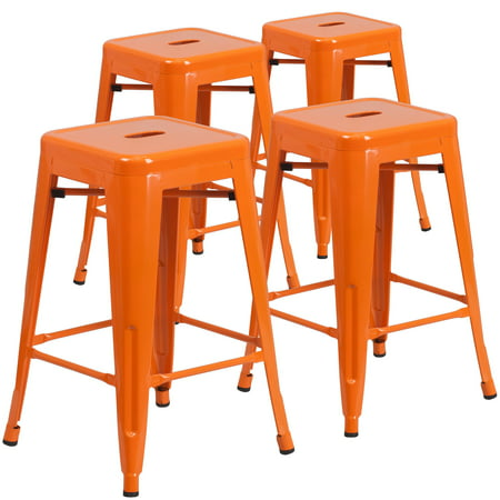 Lancaster Home 24-inch Backless Metal Indoor/ Outdoor Counter Stools (Set of 4)