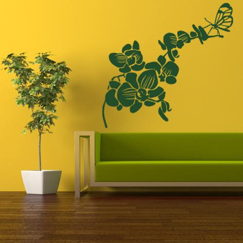 Butterfly Orchid Floral Wall Decal 46in x 45in Turquoise