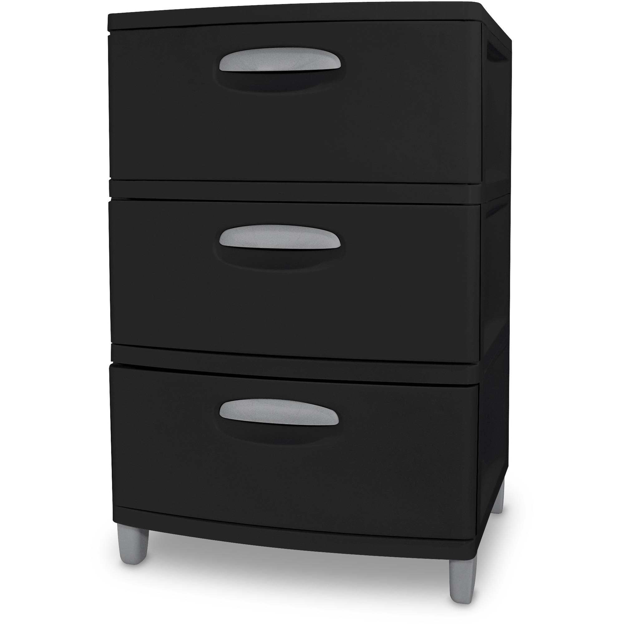 3 drawer plastic storage organizer unit garage bedroom cabinet box black ebay. Black Bedroom Furniture Sets. Home Design Ideas