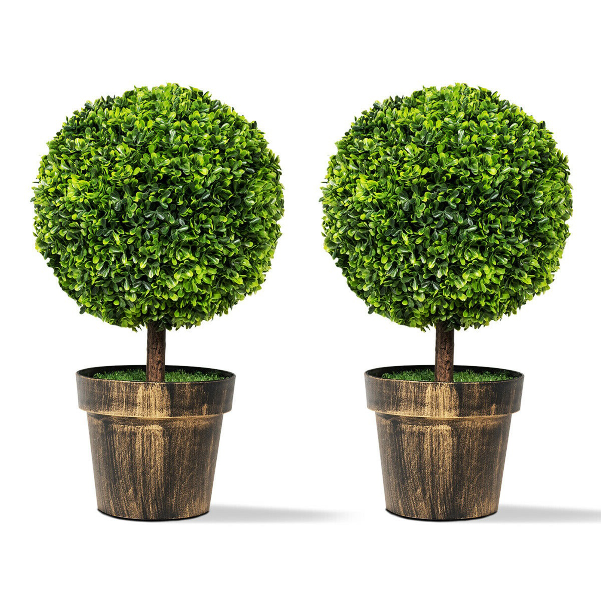 2pcs 22 Round Artificial Boxwood Topiary Tree Home Office Outdoor Decorations