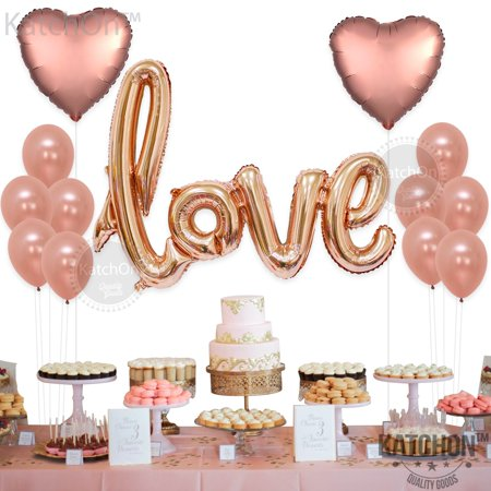 I Love You Helium Balloons (I Love You Balloons, Rose Gold - Pack of 30 - Love Balloons Rose Gold for Valentines Day Decorations - Love Balloon Kit - Pack of 13 Rose Gold Latex)