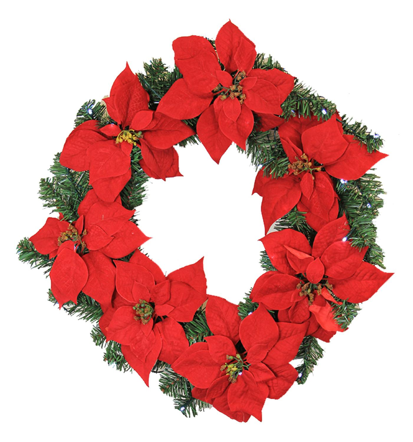"24"" Pre-Lit B/O Red Artificial Poinsettia Christmas Wreath - Clear LED Lights"