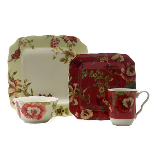 222 Fifth Lutece SQ 16 Piece Dinnerware Set, Service for 4