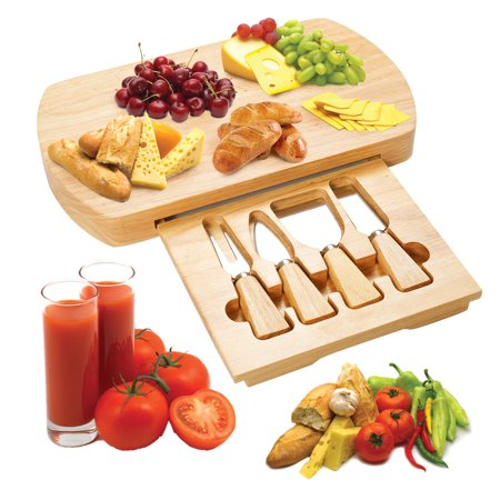 Costway 5 PC Wood Cheese Board Knife Set 4 Stainless Steel Knife Slide Out Cutting Board ()