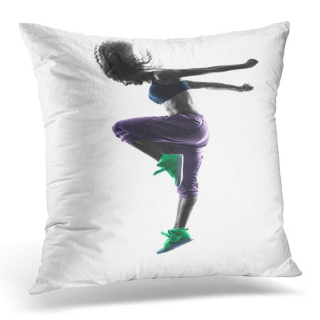 ECCOT Backlit Black Dance One Woman Zumba Dancer Dancing Exercises in Studio Silhouette White Action Pillowcase Pillow Cover Cushion Case 20x20 - Dancers Silhouette
