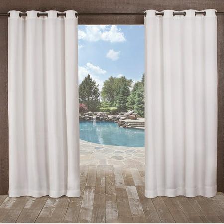 """Set of 2 84""""x54"""" Delano Indoor/Outdoor Heavy Textured Grommet Top Window Curtain Panel White - Exclusive Home"""