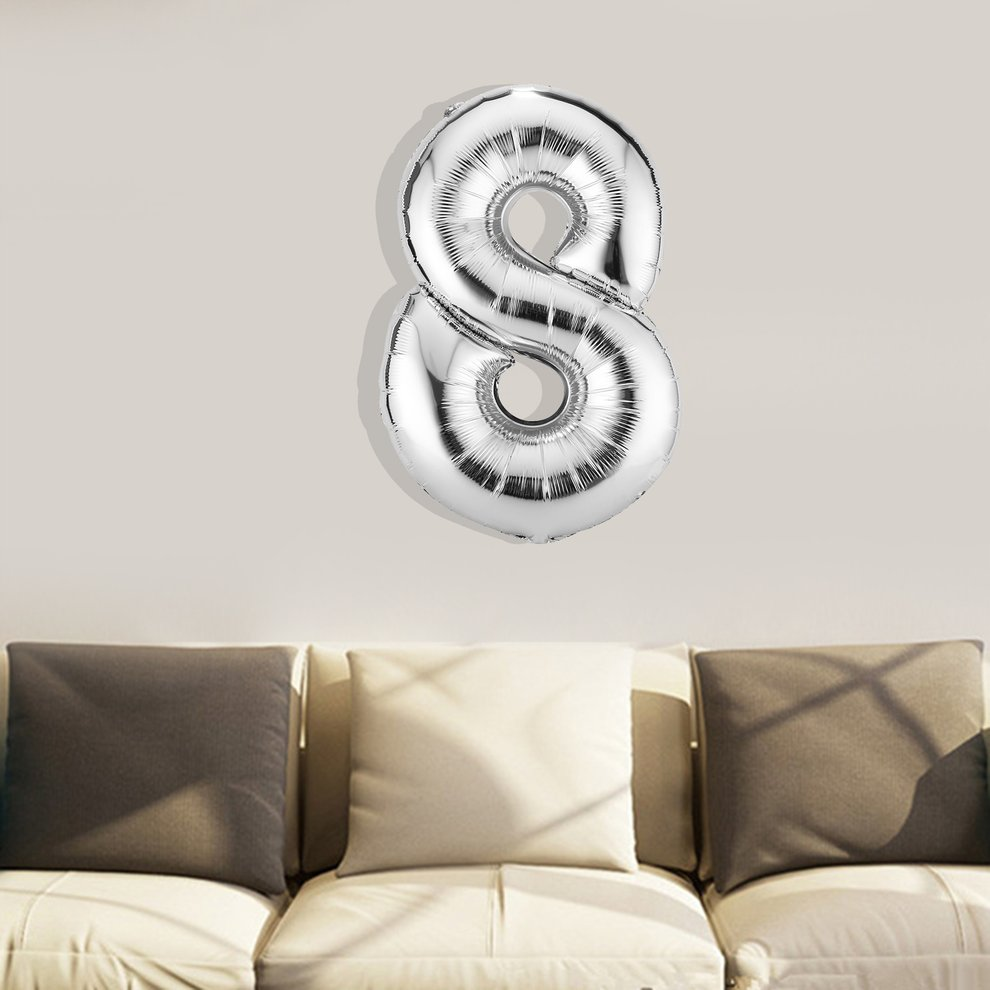 Silver Balloon 30 Inches Silver Number Foil Balloons Digit Air Ballons Party Wedding Decor
