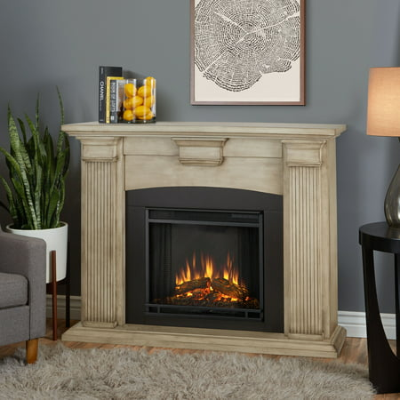 Gas Fireplace Blue Flame - Adelaide Electric Fireplace in Dry Brush White by Real Flame