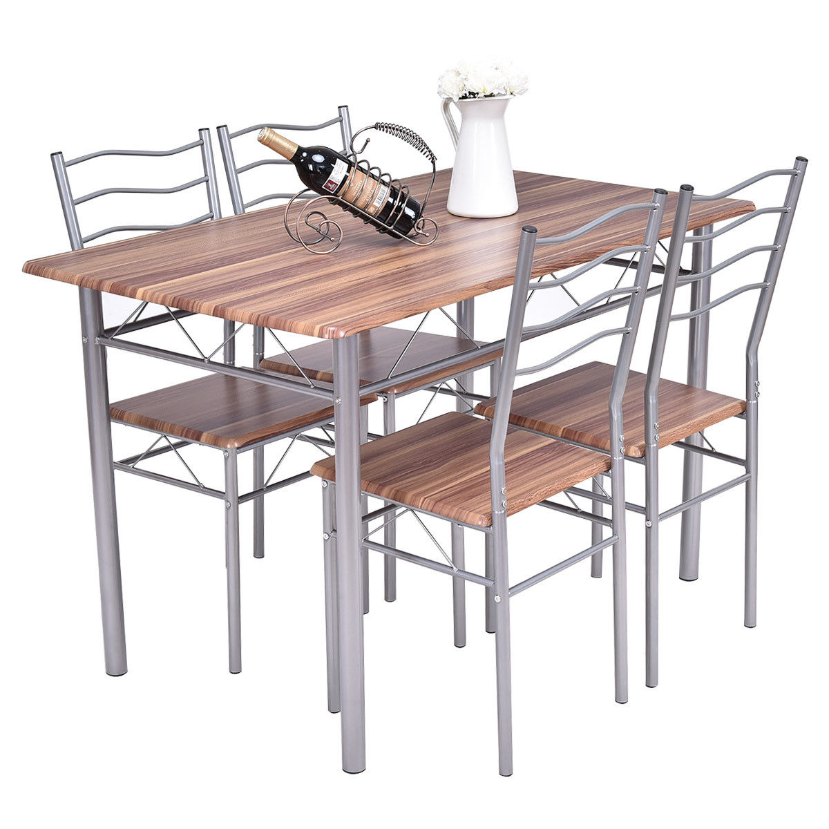 Gymax 5 Piece Dining Set Beech Wooden Color Table And 4 Chairs Kitchen Dining Room New