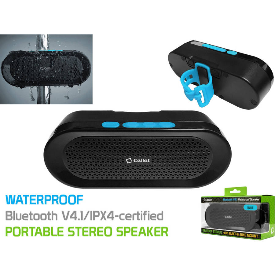 Cellet BeatBot Rechargeable Bluetooth V4.1 Speaker with Built-In Bike Mount