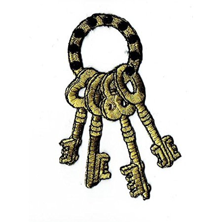 Wholesale Skeletons (Master Skeleton Key Ring - Black/Gold -  Iron on Applique/Embroidered)