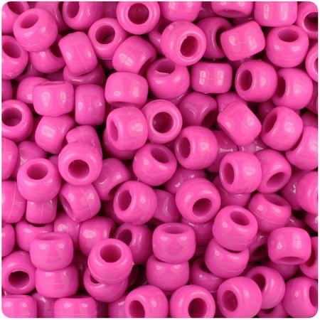 BeadTin Dark Pink Opaque 9mm Barrel Pony Beads (Dark Pink Beads)
