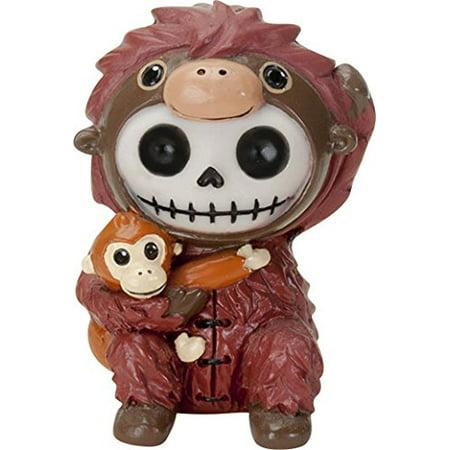 Ebros Furrybones Utan The Orangutan Hooded Skeleton Monster Collectible Sculpture Decorative Toy