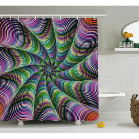 Fractal Shower Curtain Psychedelic Tentacles Converging Into Flower Form Infinity Spinning Focus Design Fabric