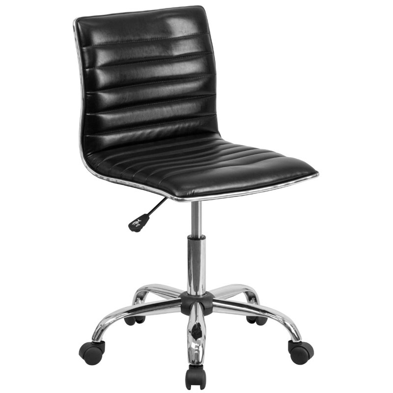 Scranton & Co Ribbed Faux Leather Office Chair in Black