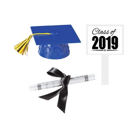 Blue Mini Graduation Hat Cake Decoration Topper with Sign and Diploma - Classic Cake Decorations