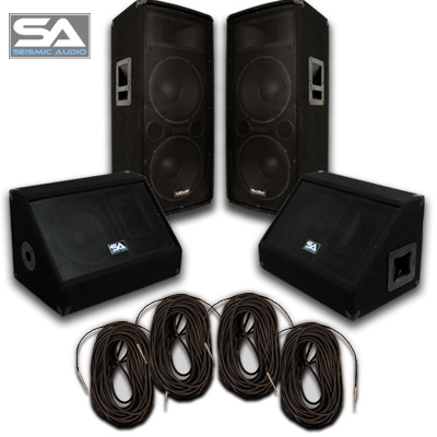 Seismic Audio Pair Dual 12 Speakers~Pair 10 Monitors~4 Cables~PA / DJ  -  SA - 122TPKG2