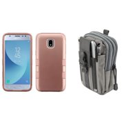 TUFF Series Hybrid Heavy Duty [Military Grade Drop Tested] Case (Rose Gold) with Gray Tactical EDC MOLLE Waist Bag Holder Pouch and Atom Cloth for Samsung Galaxy Express Prime 3 J337A (2018)