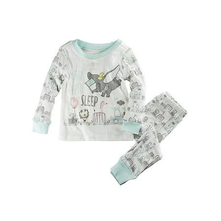 "Disney Store Baby Dumbo ""Choo Choo To Sleep"" PJ PALS Pajama Set, White, 12-18 Months"
