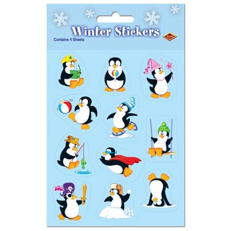 Penguin Winter Pack Of 4 Sticker Sheet 36Pc 4 75  X 7 5  Stocking Stuffer