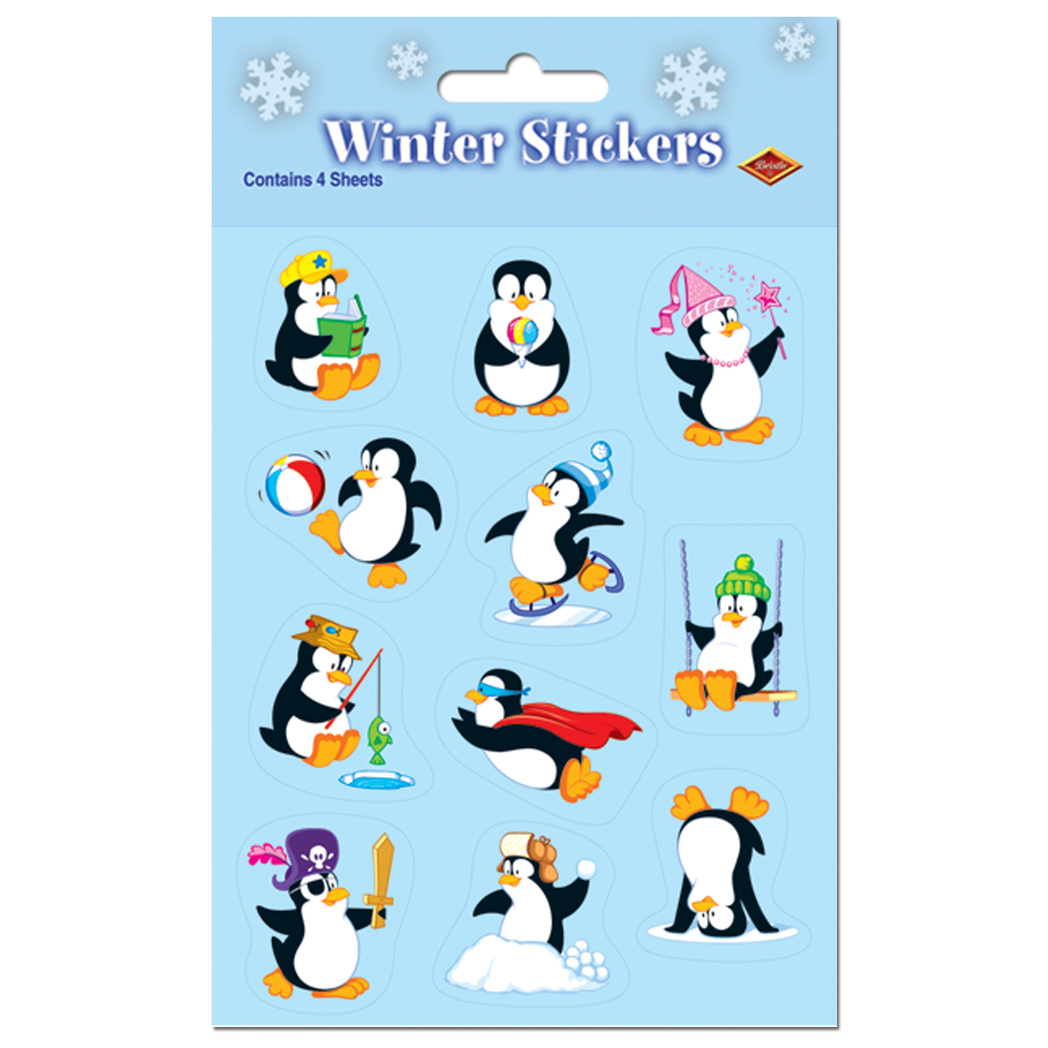 "Beistle Penguin Winter Pack of 4 36pc 4.75"" x 7.5"" Sticker Sheets"