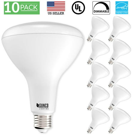 - Sunco Lighting 10 Pack BR40 LED Light Bulb 17 Watt (100 Equivalent) 2700K Kelvin Soft White 1400 Lumens, 25,000 Hours, Flood Dimmable Indoor / Outdoor, Home, Office And More - UL & ENERGY STAR LISTED