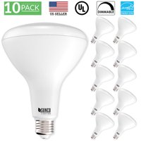 Sunco Lighting 10 Pack BR40 LED Light Bulb 17 Watt (100 Equivalent) 5000K Kelvin Daylight 1400 Lumens, 25,000 Hours, Flood Dimmable Indoor / Outdoor, Home, Office And More - UL & ENERGY STAR LISTED