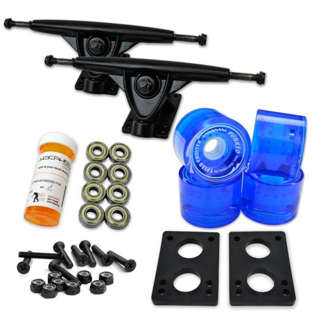 "LONGBOARD Skateboard TRUCKS COMBO set w/ 71mm WHEELS + 9.675"" Polished / Black trucks - Blue wheels Black trucks"