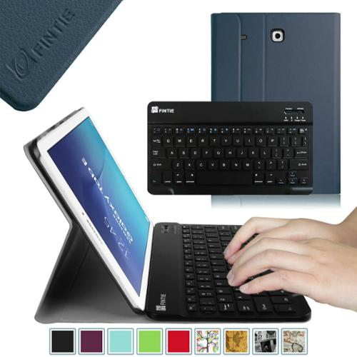 Fintie Samsung Galaxy Tab E 9.6 Tablet Case - Smart Slim Shell Cover with Removable Bluetooth Keyboard, Navy