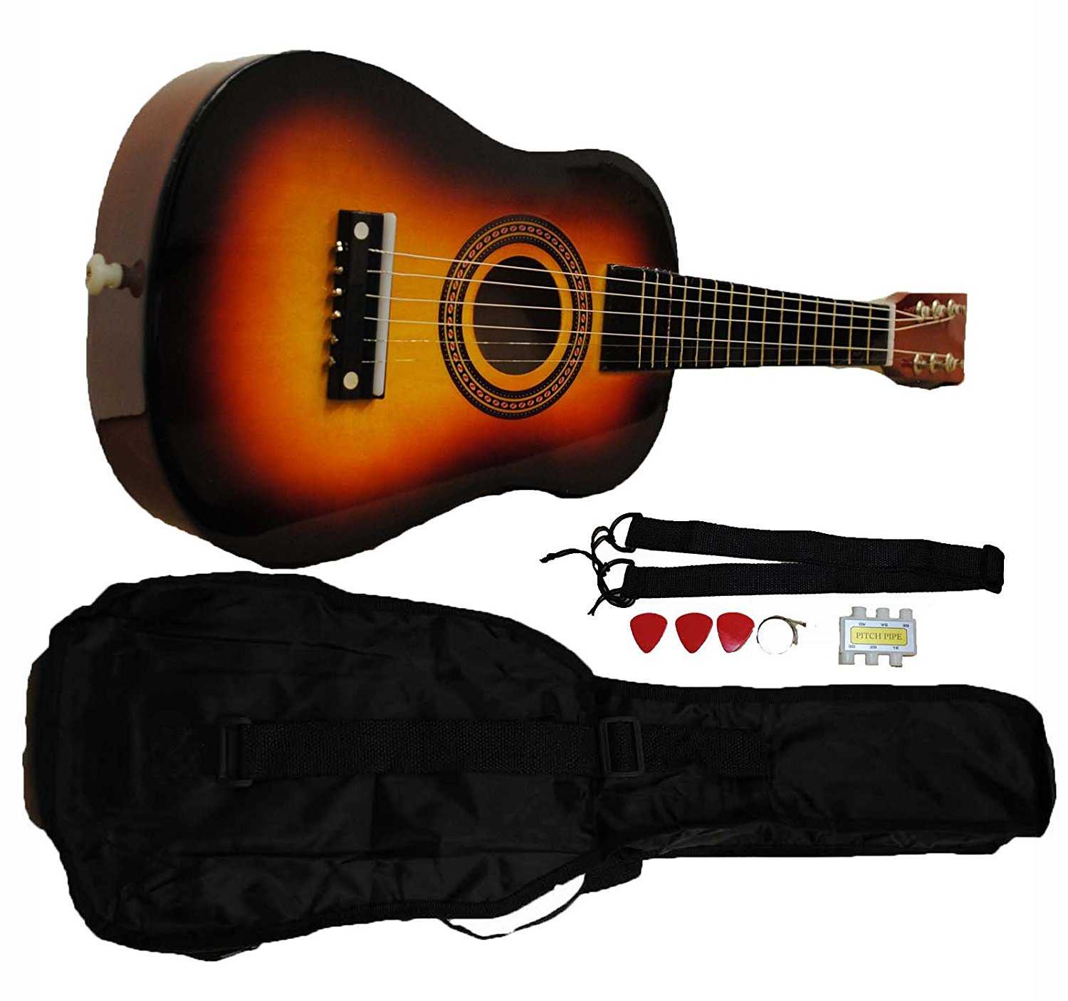 Mini Kids Acoustic Toy Guitar Kit Gig Bag + Picks + Strap + Tuner Sunburst by
