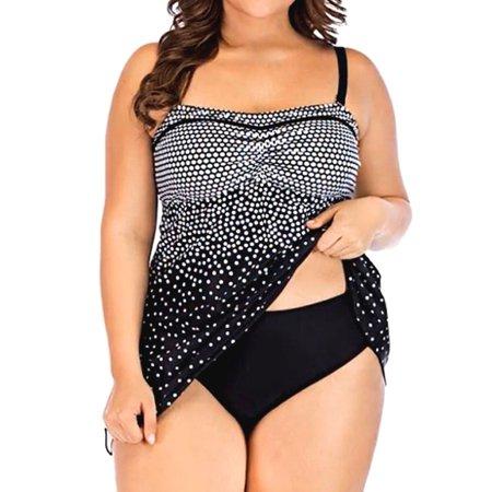 S-XXXXXL Plus Size Women Tankini Set, Two Piece Swimsuit,  Swim Dress+Briefs Dot Braces Push-UP Padded Bathing Swimming Suit
