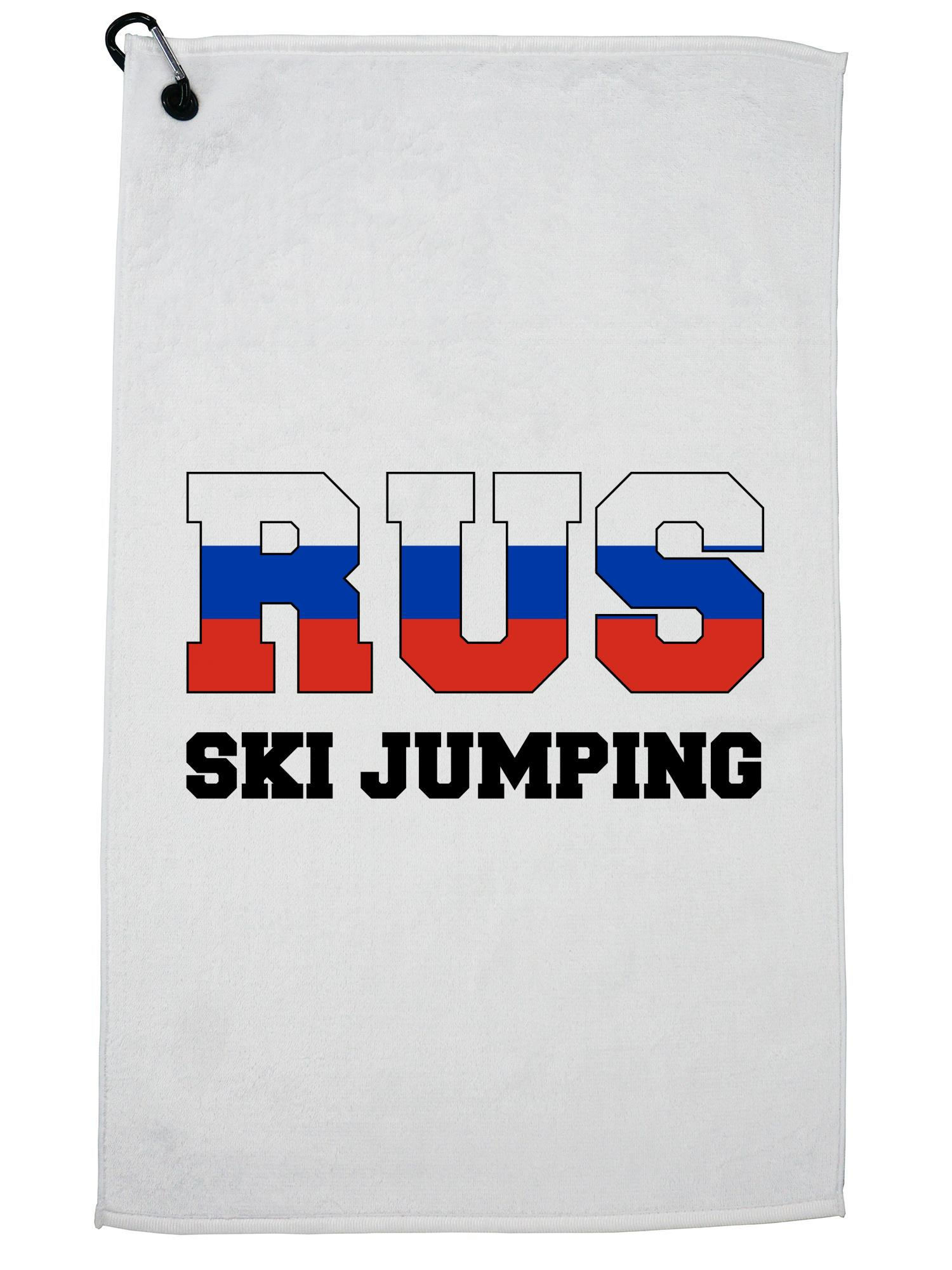 Russian Ski Jumping Winter Olympic RUS Flag Golf Towel with Carabiner Clip by Hollywood Thread