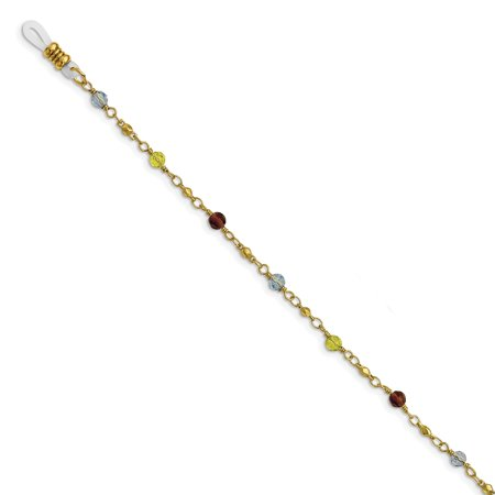 - Gold-tone Multi Colored Glass Beads 32in Eyewear Holder