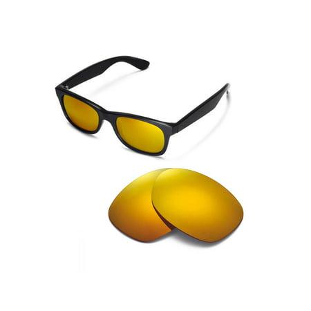 Walleva 24K Gold Polarized Replacement Lenses for Ray-Ban Wayfarer RB2132 52mm Sunglasses