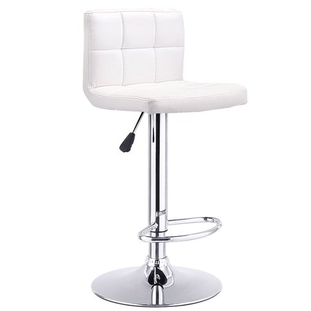 Western Leather Bar Stools - Costway 1 PC Bar Stool Swivel Adjustable PU Leather Barstools Bistro Pub Chair White