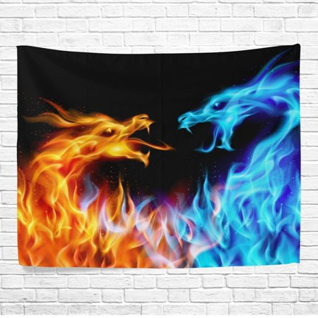 POPCreation Abstract Blue And Red Fiery Dragons Wall Art Decoration, Fire and Ice Bedroom Living Room Dorm Wall Hanging Tapestry 40x60 inches