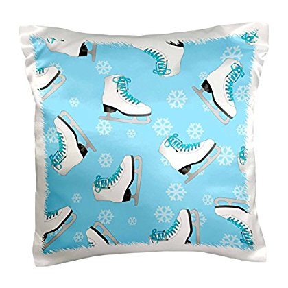 3dRose Figure Skating - Skate and Snowflake Print - Ice Blue, Pillow Case, 16 by 16-inch