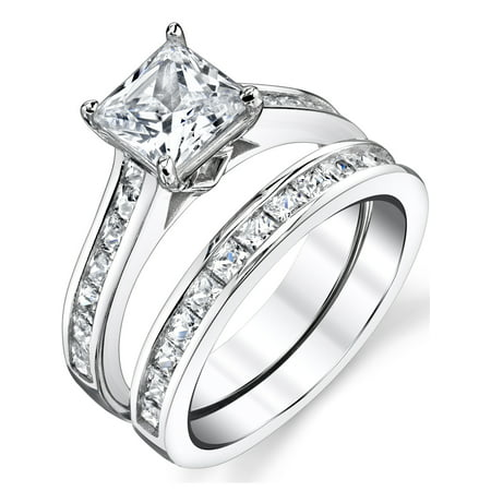Women's Sterling Silver Princess Cut Bridal Set Engagement Wedding Ring Bands Cubic Zirconia Cubic Zirconia Set