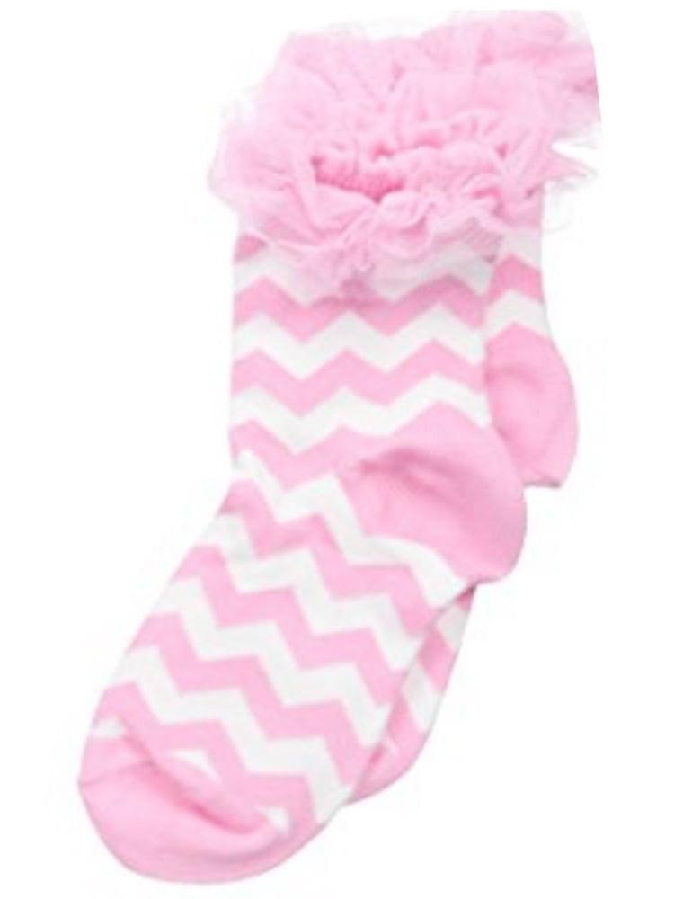 Jefferies Socks Girls Pink White Chevron Stripe Tutu Ruffle Socks