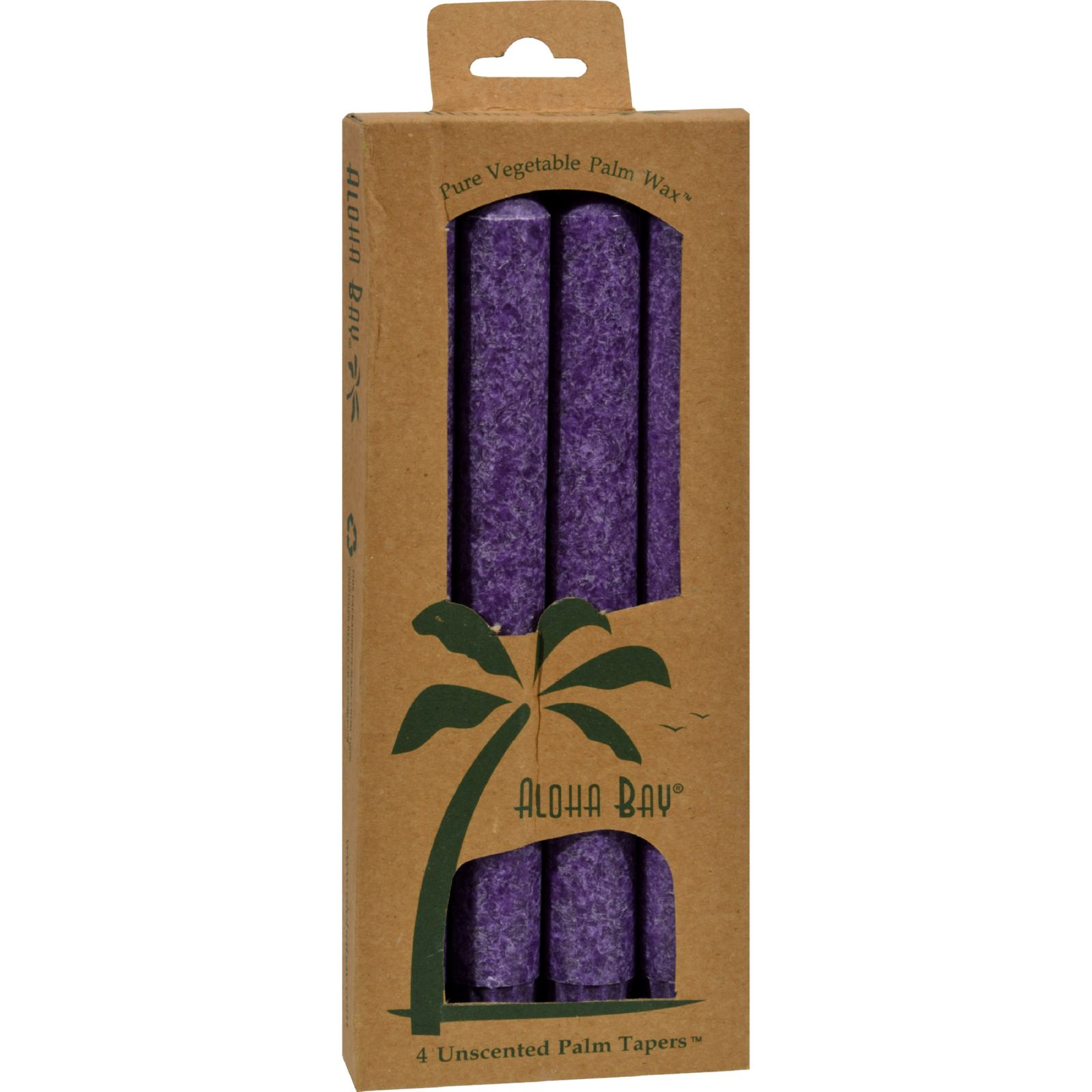 Aloha Bay Palm Tapers Violet 9 Inch Candles, Unscented - 4 Ea, 3 Pack