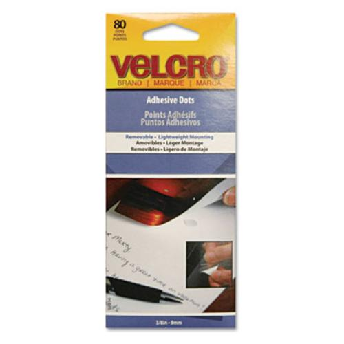 Velcro Permanent Adhesive Dots - Acid-free, Removable - 80 / Pack - White (91394)
