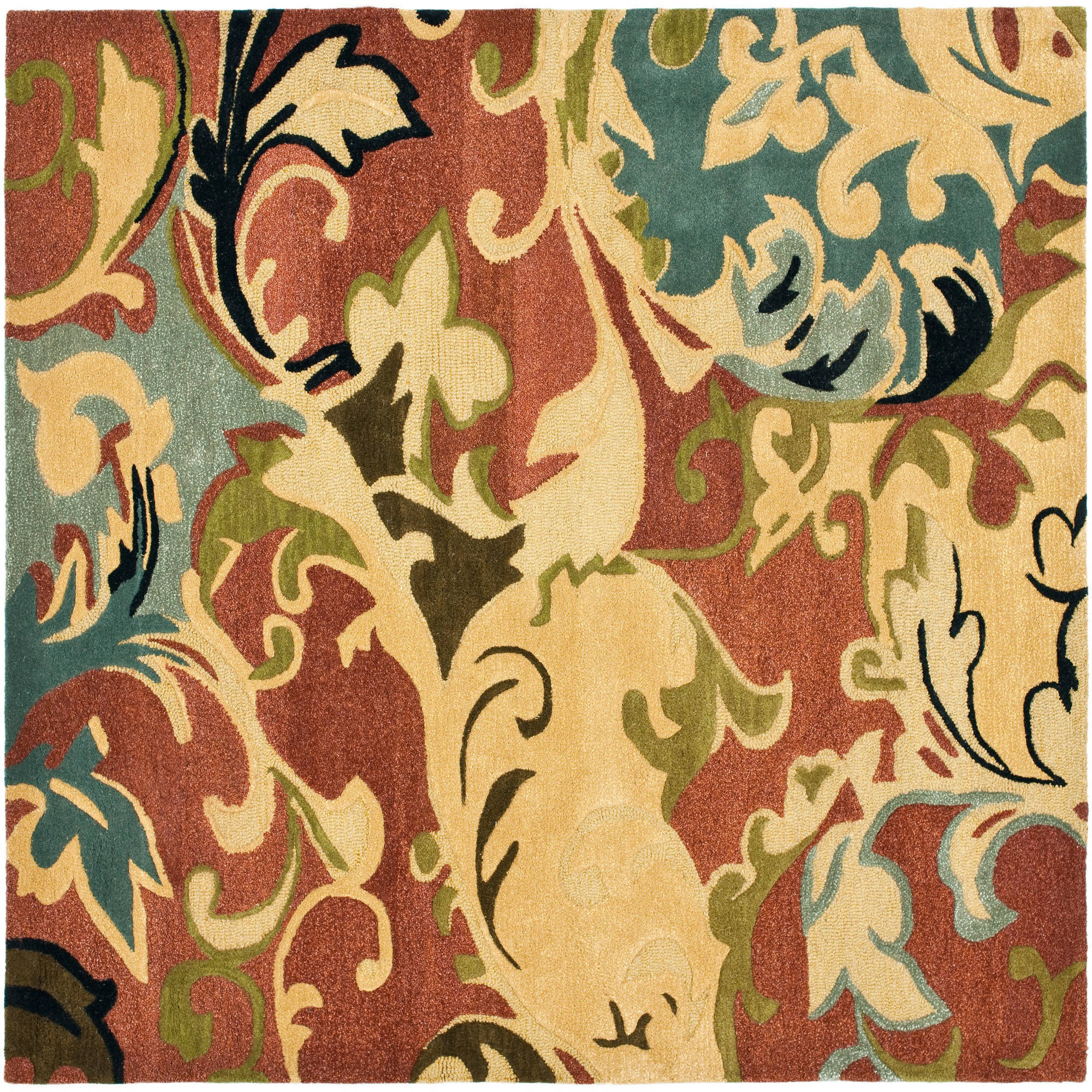 Safavieh Soho Brighton Wool Square Rug, Rust/Multi-Color, 6'