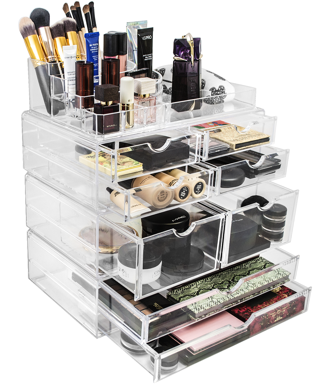 Sorbus Acrylic Cosmetics Makeup And Jewelry Storage Case X Large Display  Sets   Interlocking Scoop