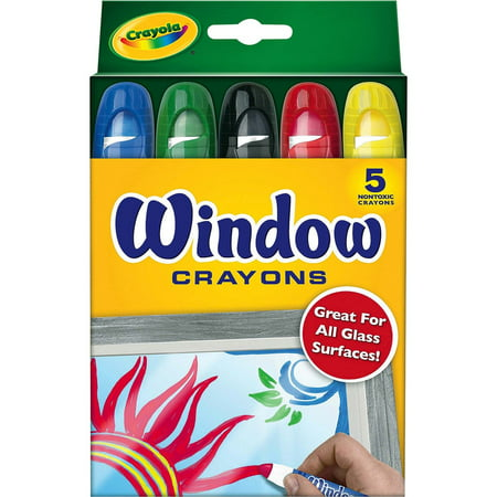Green Crayola Crayon (Crayola Washable Window Crayons, 5 Count,)