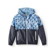 Bocini Zip Up Hooded Wind Breaker Jacket with Color Block Prints (Big Boys)
