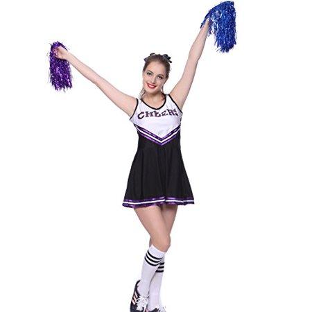 Saints Cheerleader Outfit Halloween (VARSITY COLLEGE SPORTS School Girl CHEERLEADER UNIFORM COSTUME OUTFIT Black)